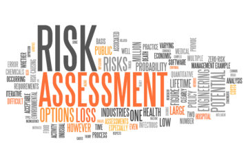 Word cloud of Risk Assessment, many different words that describe or are involved with risk assessment