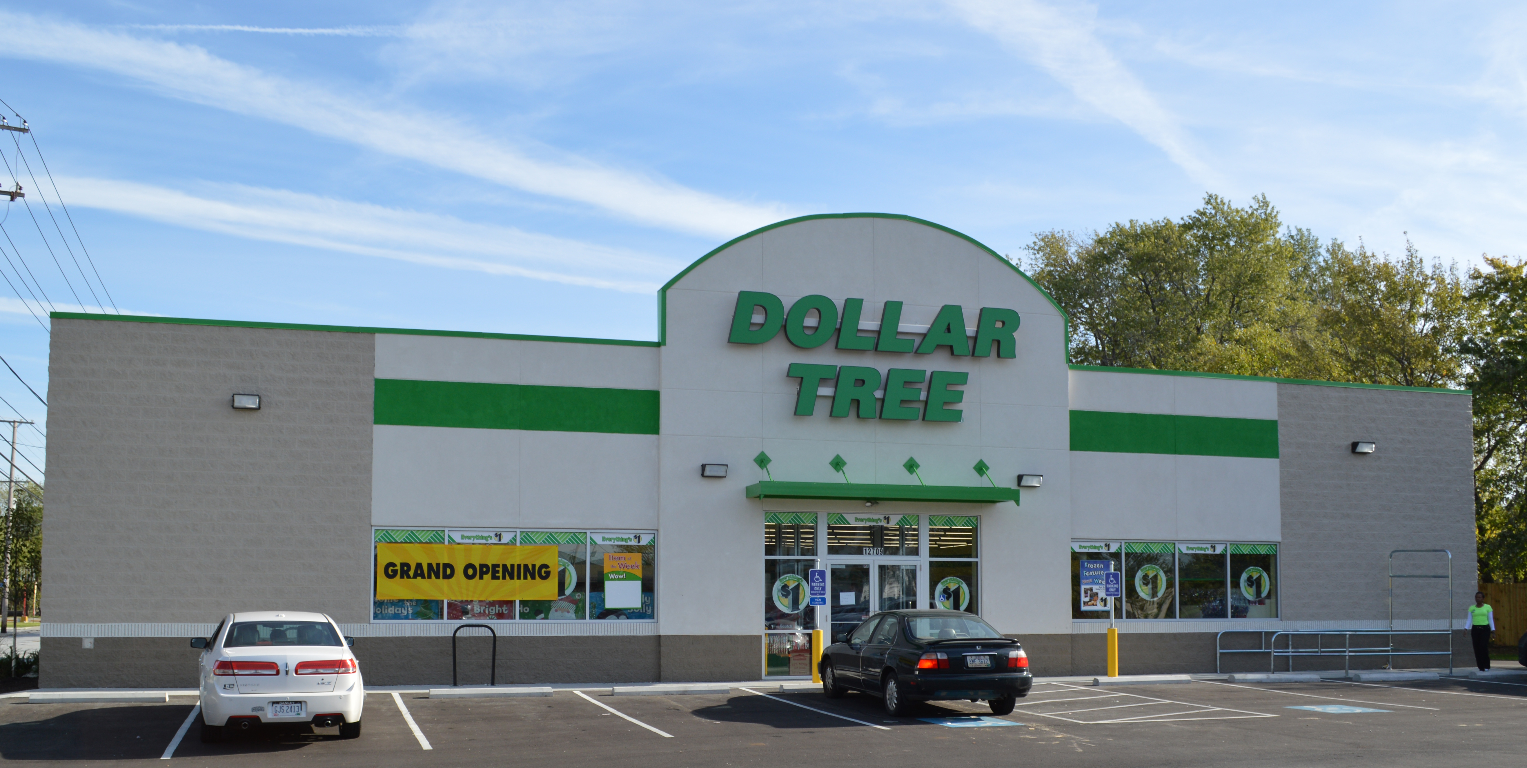 Stand-alone Dollar Tree with a Grand Opening banner on the window and a black car in the parking lot