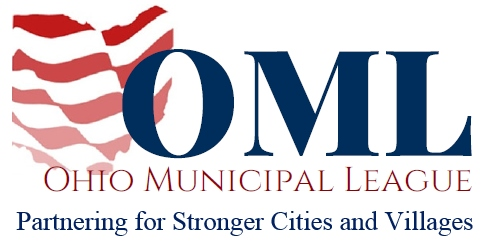 OML Ohio Municipal League Partnering for Stronger Cities and Villages and rand white waving flag stripes in the shape of ohio