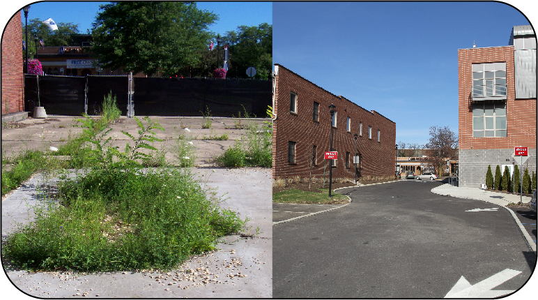 On the left a photo of an overgrown cement lot and on the right a newly constructed building and pavement