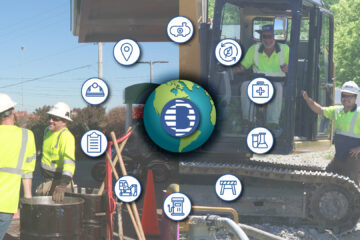 BJAAM logo on the earth surrounded by icons that represent BJAAM's different services and project types.