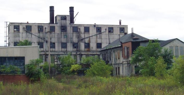 Large industrial buildings surrounded by overgrown vegetation