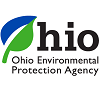 Ohio Environmental Protection Agency logo, Stylized blue and green leaf as O in Ohio