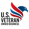 U.S. Veteran Owned Business and blue and red bird head and wing